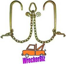 G70 V CHAIN, V BRIDLE, J T Hook for Tow Truck, Carrier, Hauler, Commercial Grade