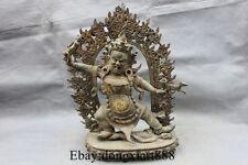 "13"" Tibet Buddhism Temple Bronze Gild Mahakala Vajrapani Buddha Statue"