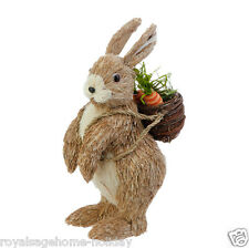 "E3653311 RAZ 13"" Brown Bunny Rabbit w/Carrot Basket Easter Decoration Woodland"