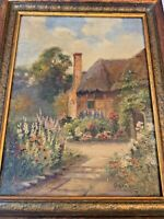 """E. Walbourn (1888-1930) """"English Cottage""""  Original Oil Painting on Canvas"""