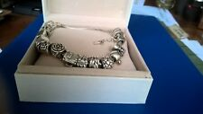 pandora bracelet sterling silver with sterling silver and 9carat gold charms