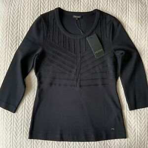 New With Tags ESCADA Women's Stretch Black Top Size M