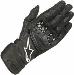 Alpinestars SP-2 V2 Motorcycle Motorbike Leather CE Touchscreen Gloves - Black