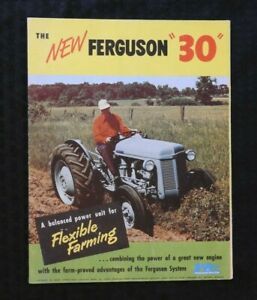 """1951 FERGUSON """"THE NEW TE TO 30 TRACTOR"""" SALES BROCHURE HUGE FOLD-OUT POSTER NMT"""