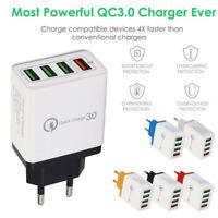 4 Port Fast Quick Charging Wall Charger QC 3.0 USB Hub Power Adapter Plug UK.