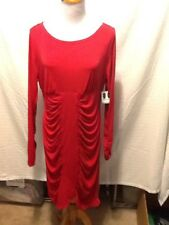Slimfabulous Womens Slimming Dress Size Xl Red Solid Long Sleeve New Z29
