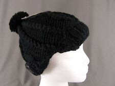 Black chunky knit button ski brim hat cap beanie winter crochet pom pom