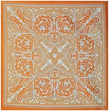 "Versace Medusa Baroque Orange Silk Fabric - 54"" x 54"""