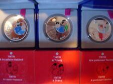 LOTCOMPLET 3 coffrets 1,5 euro TINTIN Argent FDC EXTRA BE COLORISE EPREUVE RARE