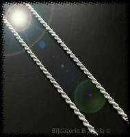Chaîne Maille corde 40 cm x 2 mm  En Argent Massif 925/1000 Poinçonné Bijoux