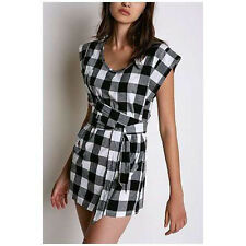 New Cheap Monday Passpoal Black Gray Check Plaid Wrap Tunic Tee or Dress Sz S