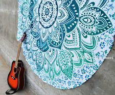 "Indian Hippie Mandala Roundie Yoga Mat 72"" Ombre Beach Rug Round Tapestry"