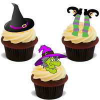 24 x HALLOWEEN EDIBLE MIX WITCH HAT LEGS STAND UP PARTY CUP CAKE TOPPERS UPS D14