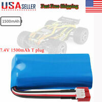 2S Lipo Battery 7.4V 1500mAh T-Plug for WLtoys 4WD Rc Cars 12403 12401 12402 US