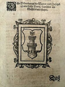 1500s INCUNABULA FOLIO - Medieval Chronicle: Town of Oldenburg