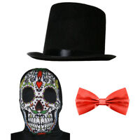 ADULTS SUGAR SKULL HALLOWEEN SET MASK SKELETON DAY OF THE DEAD FANCY DRESS