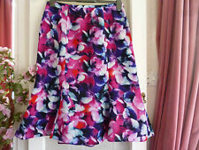 """LAURA ASHLEY BLURRY FLORAL PRINT PANEL FLARE SILKY SKIRT FULLY LINED WAIST 34"""""""