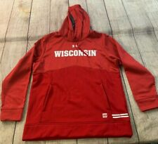 NEW Under Armour Wisconsin Badgers Cold Gear Loose Red Hoodie Sweatshirt Large