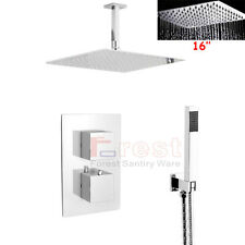 """Ceiling Mounted 16"""" Rain Shower Head Faucet Set Thermostatic Mixer Shower Valve"""