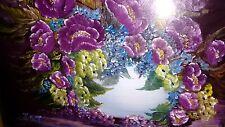 Original peinture à l'huile de Chine pot avec fleurs violettes/Abstract Seascape Scene