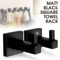 Towel Rack Matt Black Square Rail Tissue Roll Toilet Robe Hook Brush Holder
