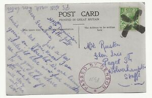 WW1 Royal Navy local made cross Postmark passed by Censor HMS Dominion Postcard