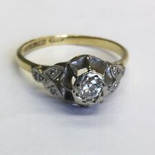 Antique 18ct Solid Gold Solitaire Diamond Ring Size P1/2 Diamond Set Shoulders