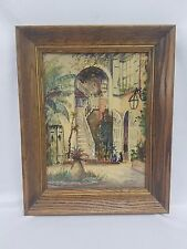 Nestor Hippoyle Fruge Signed New Orleans Courtyard Watercolor Painting Framed