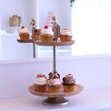Shudu 2 Niveles Pastel Soporte de Madera de Mango Aluminio Cupcake Tea Party sirviendo Boda