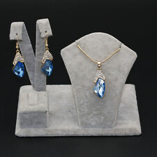 Women Jewelry Set Gold Plated Blue Sapphire Pendant Wedding Earrings Necklace