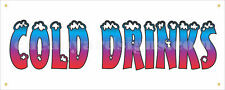 "Cold Drinks Banner Retail 18""x48"" Food Truck Concession Festival Sign"