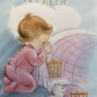 Vintage Mid Century Christmas Greeting Card Cut Kid Kitten Praying Pink Pajamas