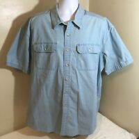LL L.L. Bean Mens Shirt XXL 2XL Light Blue 100% Cotton Short Sleeve Free Ship!