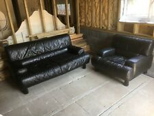 Vintage De Sede Design Sofa And Armchair, Black Leather, Made In Switzerland