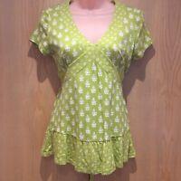 Laura Ashley Green Floral Print Top Size UK 10 Cotton Modal Blend Tie Back White