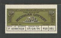 1974 or 1975 MICHIGAN JACKPOT LOTTERY TICKET $0.50  50¢