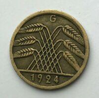 Dated : 1924 G - Germany - 5 Pfennig - Weimar Republic - German Coin