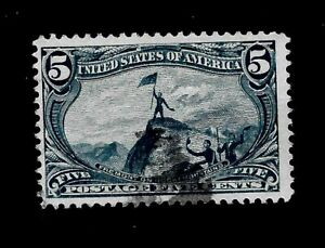 U.S.1898 Sc# 288 5  c Trans Mississippi Used - Light Cancel - Vivid  Color - GEM