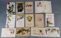 13pc Antique Vintage Lot of Postcards Christmas Greetings Holiday Some w/ stamp