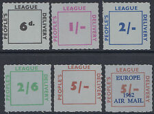 Great Britain People's League roulette label set of 6 MNH