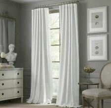 "Valeron Estate Pair 2 White Curtains Panels Drapes 52x 82"" Cotton & Linen Heavy"