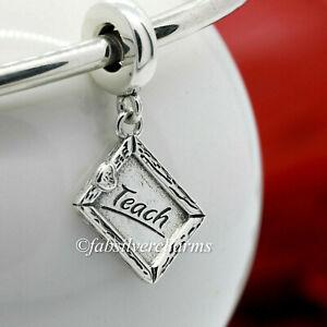 Authentic Pandora Teach With Heart Chalkboard  799108C00 Teacher Love Charm