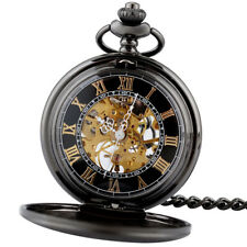 Black Vintage Antique Mechanical Pocket Watch Skeleton Chain Windup Mens Gift MN