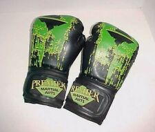 Premier Martial Arts 16 oz. Black Green Polyurethane Foam and Rubber Gloves
