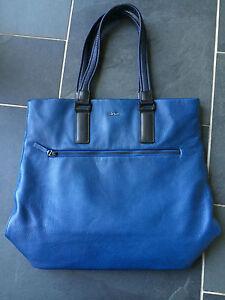 "Paul Smith ""EMILE"" Blue Leather Tote Bag"