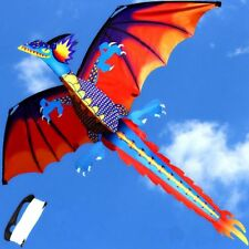 Classical 3D Flying Dragon Kite Large Line With Tail Outdoor Kids Play Toy Sport