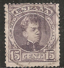 "Spain Stamp - Scott #276/A35 15c Dull Lilac ""King Alfonso XIII"" Used/H 1902"