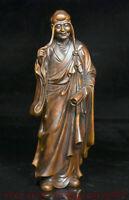 """8 """"buis chinois bois sculpté longs sourcils Arhat Rohan Lohan Bouddha Statue"""