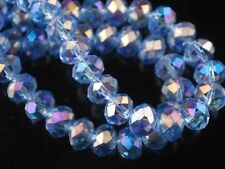72pcs 6x8mm Faceted Rondelle Crystal Glass Loose Spacer Beads Light Blue AB