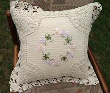 Chic Silk Ribbon Embroidery Flower Hand Crochet Lace Cushion Cover Home Decor